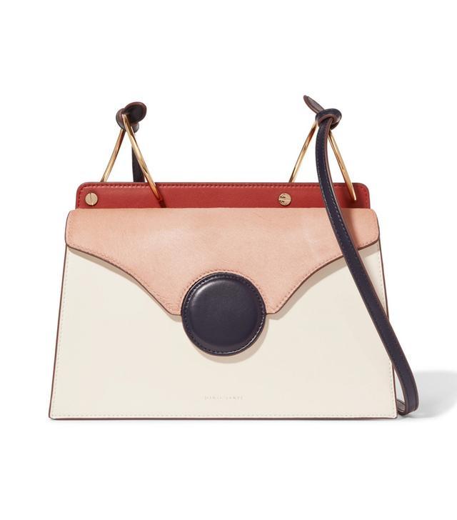 Phoebe Calf Hair-paneled Leather Shoulder Bag