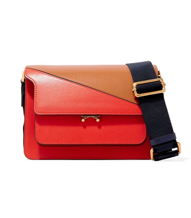 Trunk Two-tone Leather Shoulder Bag