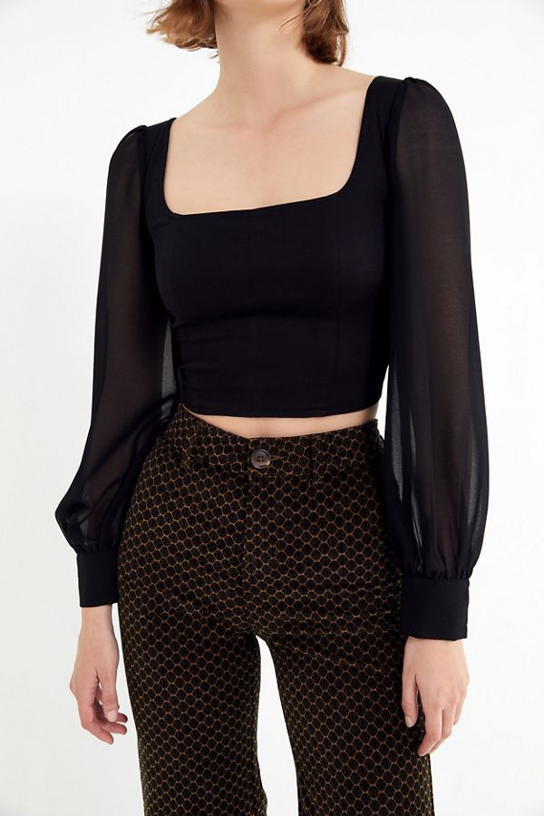 Urban Outfitters UO Lena Sheer Sleeve Square-Neck Blouse