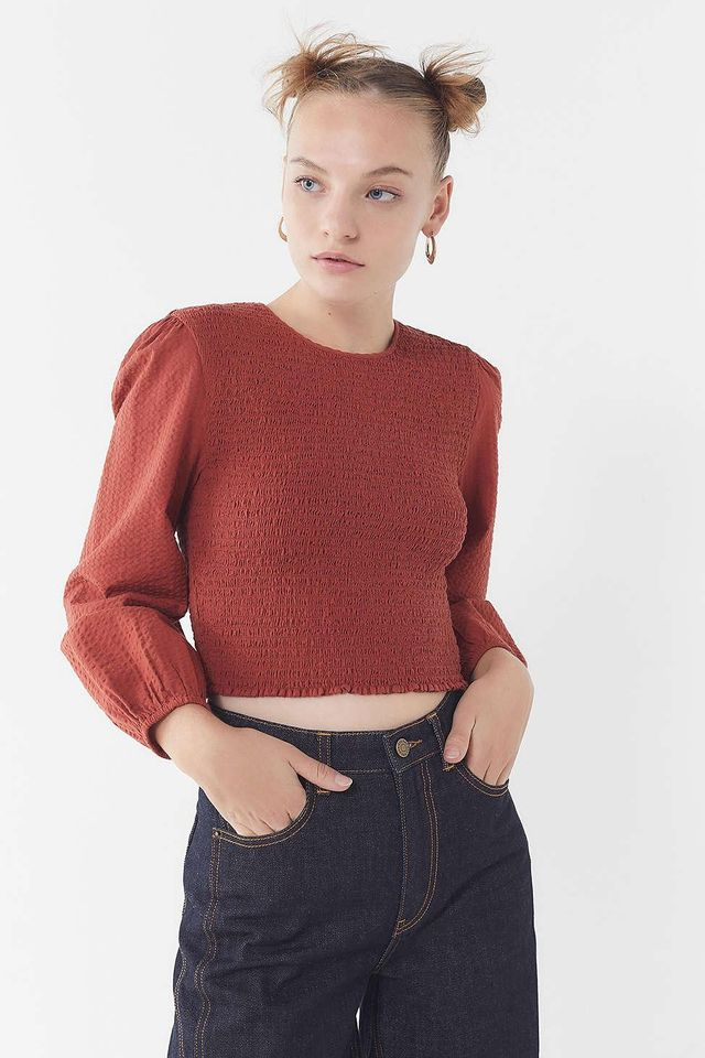 UO Luca Smocked Long Sleeve Top