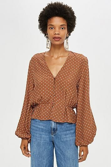 Polka Spot Button Blouse