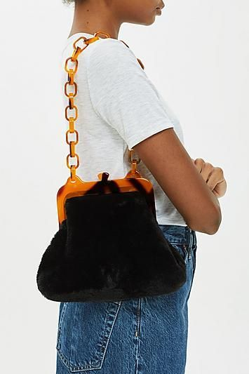 Faux Fur Frame Tortoiseshell Shoulder Bag