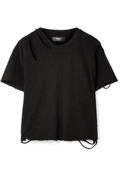 Slash Distressed Cotton-jersey T-shirt