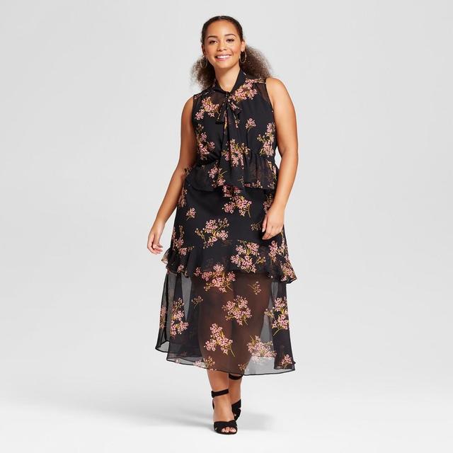 Plus Size Tiered Ruffle Midi Dress