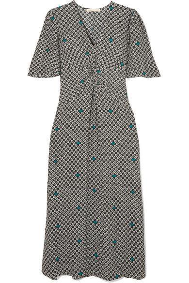 Renoua Knotted Printed Crepe Midi Dress