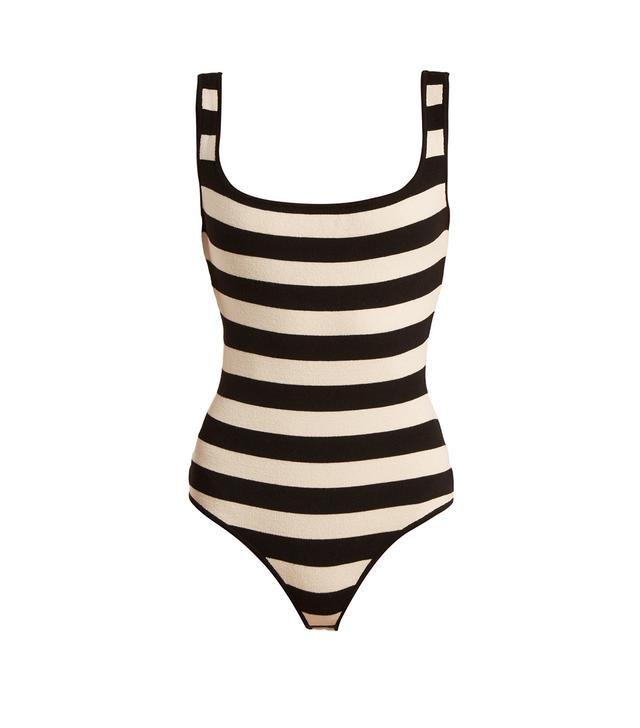 Teresa striped square-neck stretch-knit bodysuit