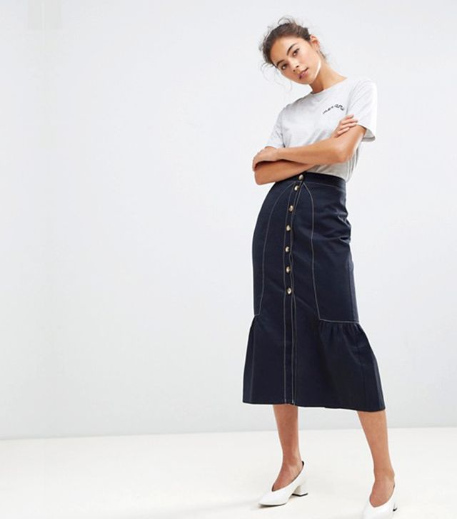 ASOS TALL Midaxi Skirt with Buttons and Contrast Stitching