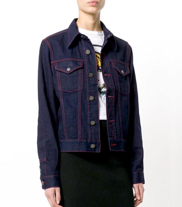 contrast stitching denim jacket