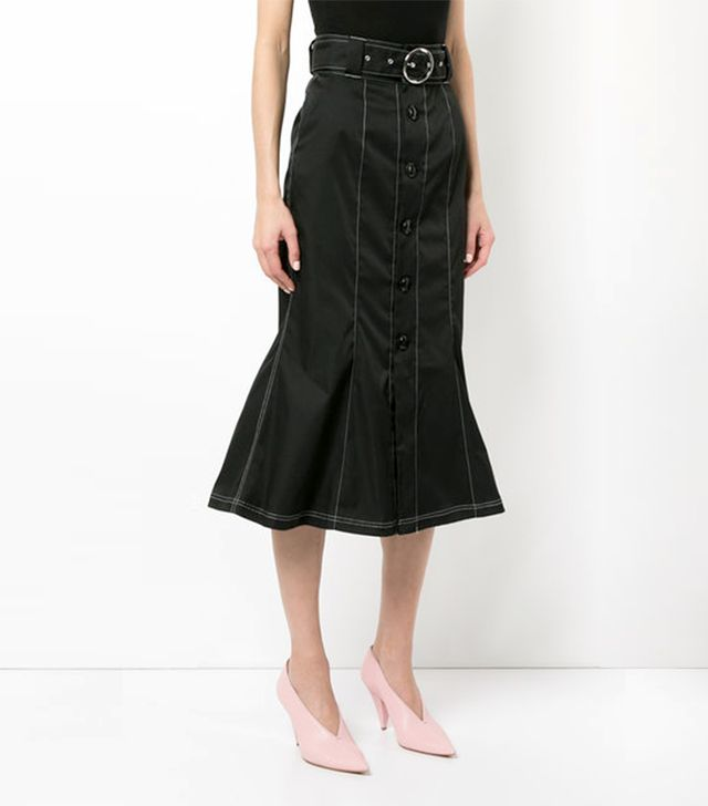 contrast stitch belted skirt