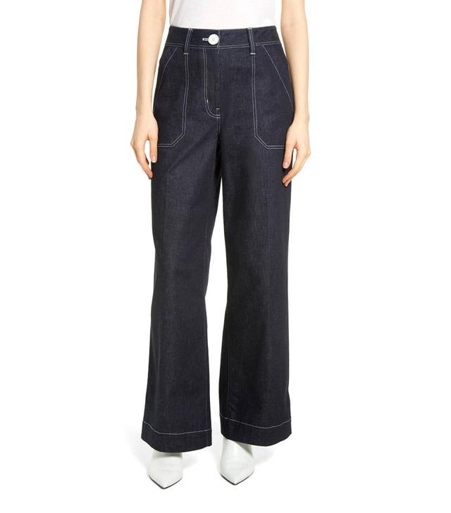 Contrast Stitch Wide Leg Jeans