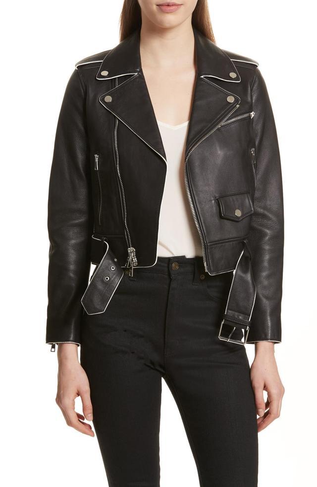 Painted Edge Shrunken Leather Moto Jacket