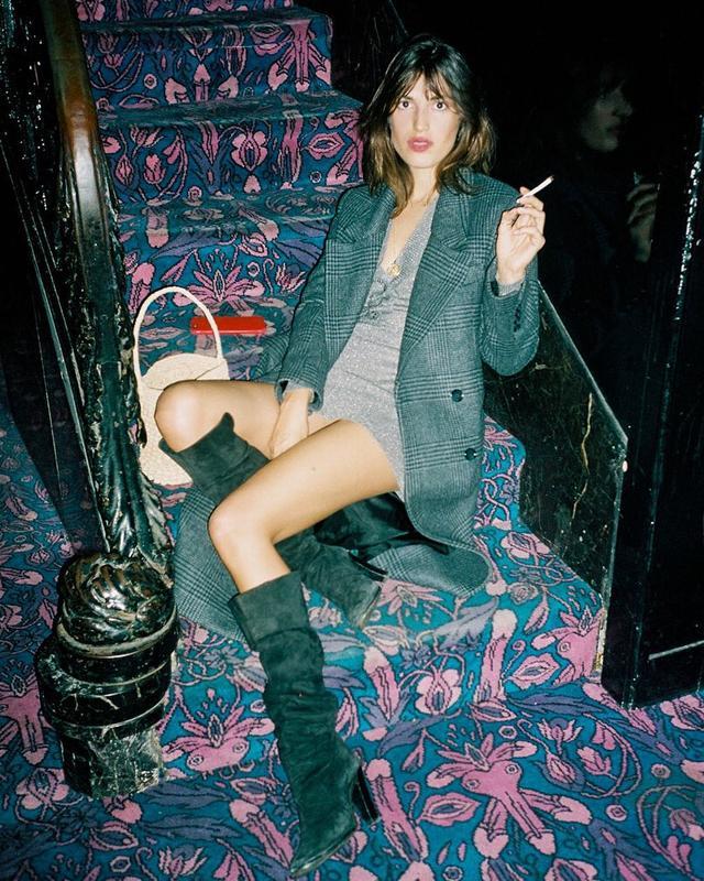 Check Blazer + Knit Dress + Knee-High Boots