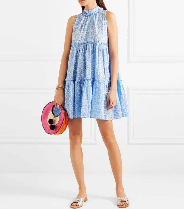 Erica Ruffled Broderie Anglaise Cotton Mini Dress