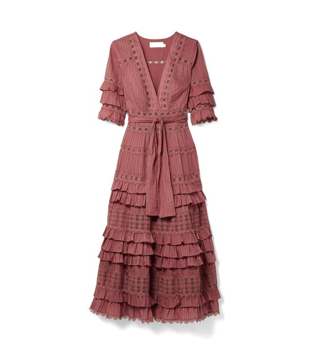Corsair Tiered Broderie Anglaise Cotton Midi Dress