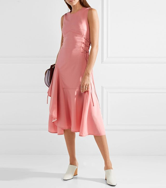 Adeam Asymmetric Lace-Up Wool-Blend Midi Dress