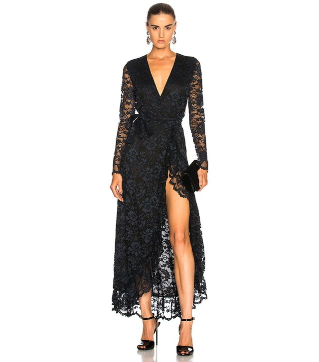 Ganni Ruffle-Trimmed Lace Wrap Maxi Dress