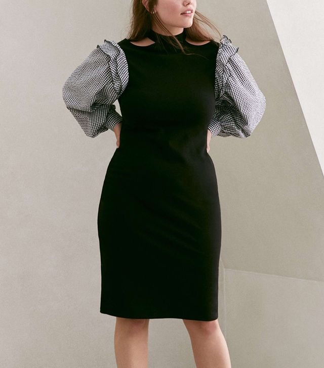 Lost Ink Gingham Sleeve Body-Con Dress