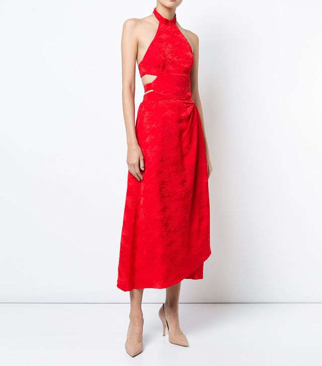 Rosie Assoulin Jacquard Halter Dress