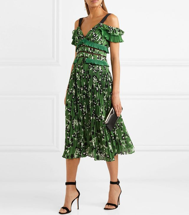 Self-Portrait Cold-Shoulder Lace-Trimmed Floral-Print Plissé-Crepe Dress