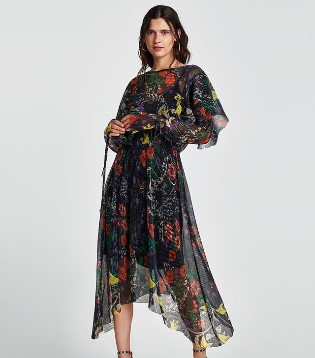 Zara Shiny Print Pleated Dress