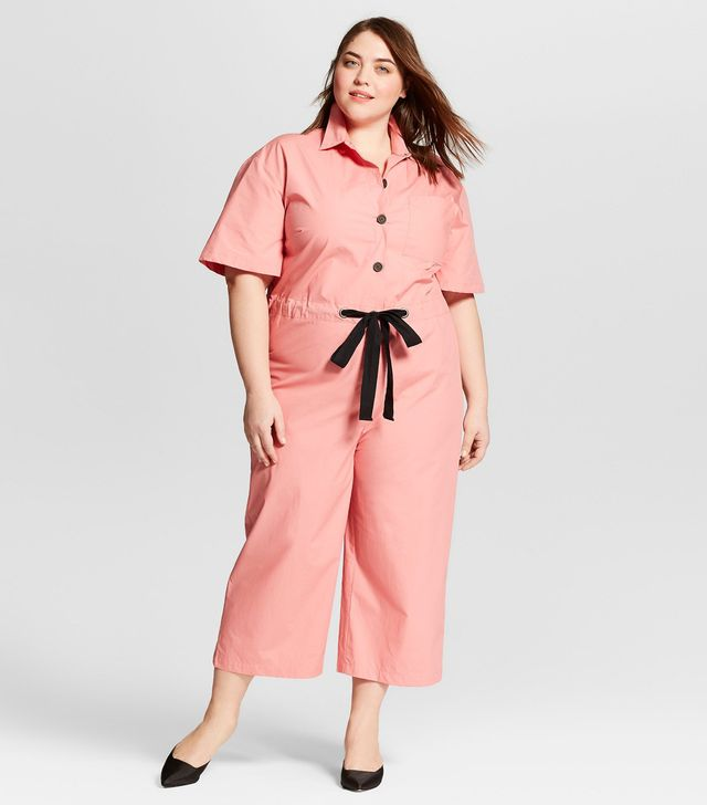 Plus Size Short Sleeve Belted Jumpsuit