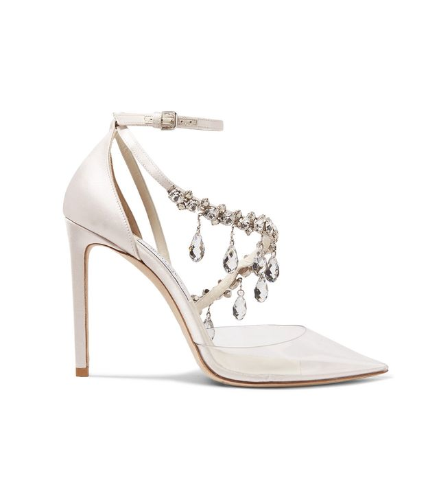 C/o Jimmy Choo Victoria Crystal-embellished Satin And Vinyl Pumps