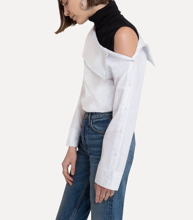 Pixie Market Serge Two-Piece Off-the-Shoulder Shirt