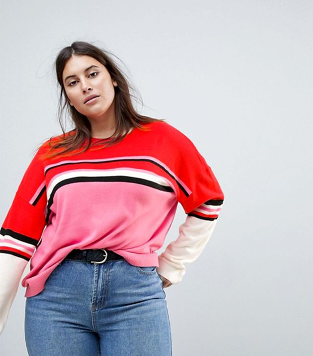 ASOS CURVE Sweater with Crew Neck in Color Block Stripe