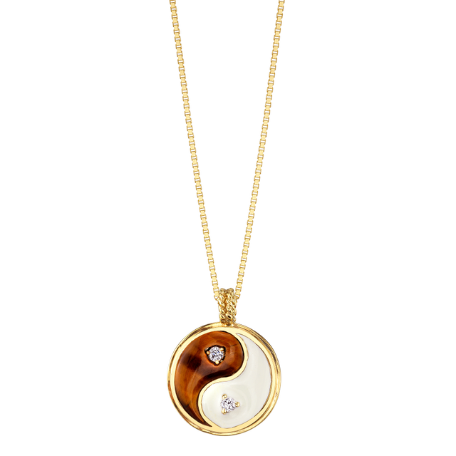 The Last Line Diamond Tigers Eye and Enamel Yin Yang Necklace