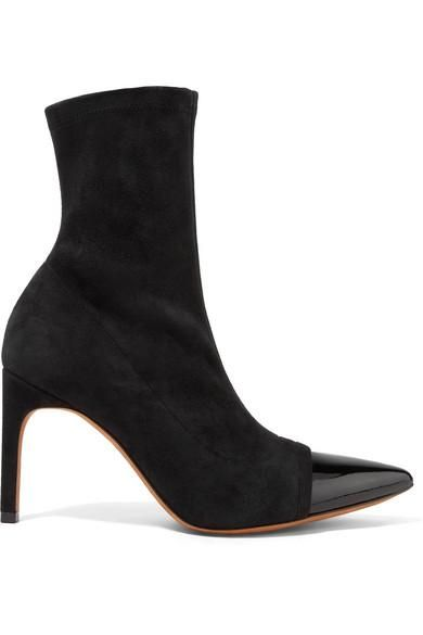 Graphic Patent Leather-trimmed Suede Sock Boots