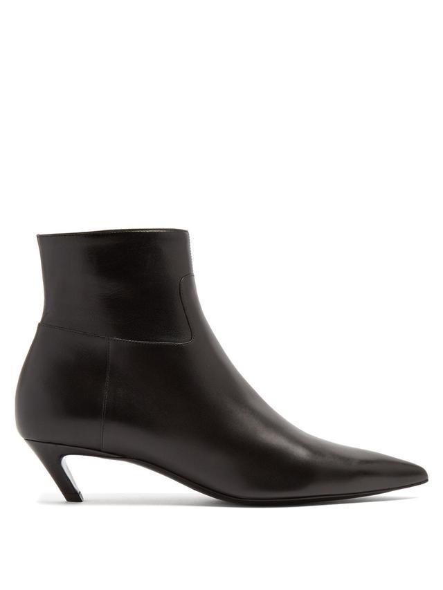 Slash leather bootie