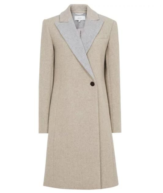 Reiss Wrap-Front Coat in Grey