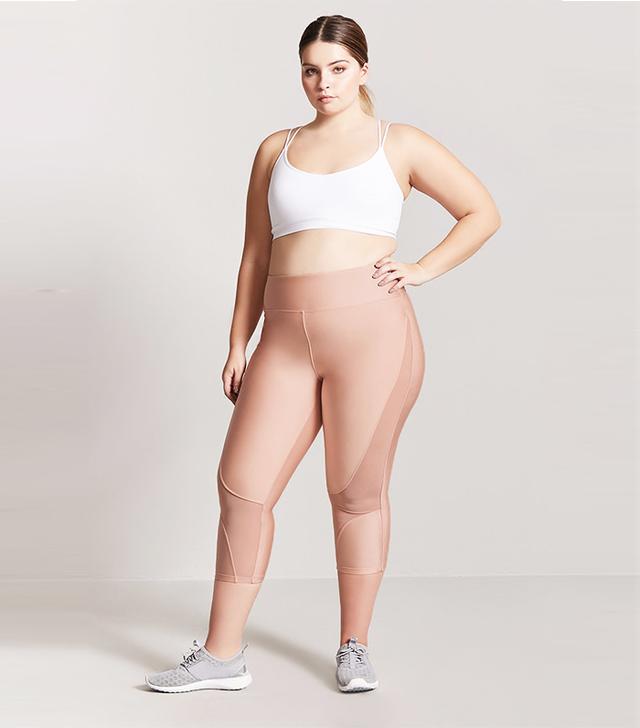 Plus Size Active Mesh Panel Capri Leggings