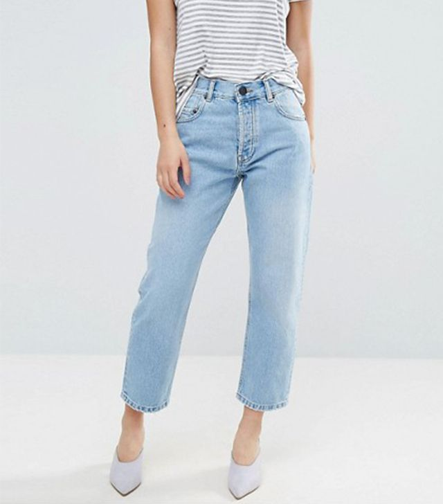 ASOS PETITE FLORENCE Authentic Straight Leg Jeans in Cambridge Light Mid Wash