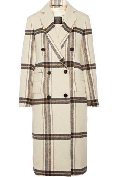 By Malene Birger Gritt Double-Breasted Plaid Brushed-Felt Coat