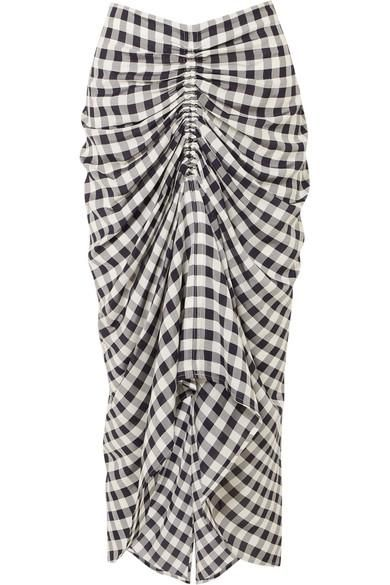 Joseph Roman Ruched Gingham Poplin Midi Skirt