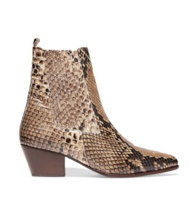 Sandro Anouck Snake-Print Leather Ankle Boots