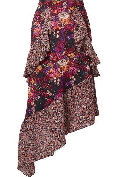 Butterflies And Bells Asymmetric Silk-jacquard Midi Skirt