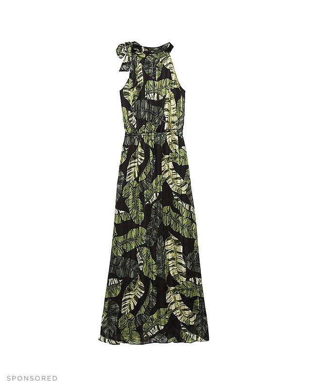 Banana Republic Palm Print Tie-Neck Maxi Dress