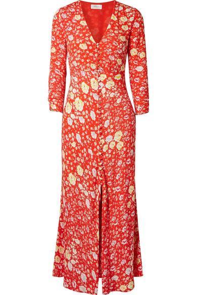 Katie Floral-print Crepe De Chine Maxi Dress