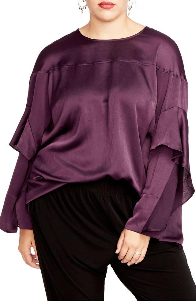 Plus Size Women's Rachel Rachel Roy Ruffled Bell Sleeve Blouse