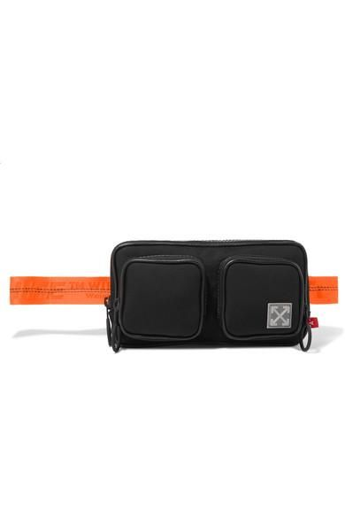 Leather-trimmed Canvas Belt Bag