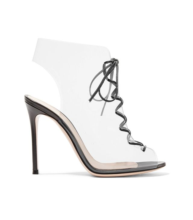 685482238c01 Helmut Plexi 100 Lace-up Pvc And Leather Ankle Boots