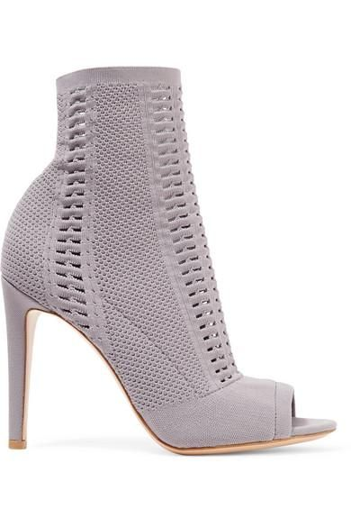 Vires 105 Peep-toe Perforated Stretch-knit Ankle Boots