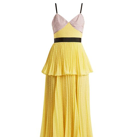 Bi-Color Plumetis Tiered Strappy Dress