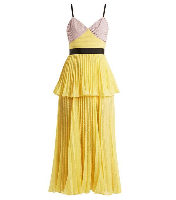 Self-Portrait Bi-Color Plumetis Tiered Strappy Dress