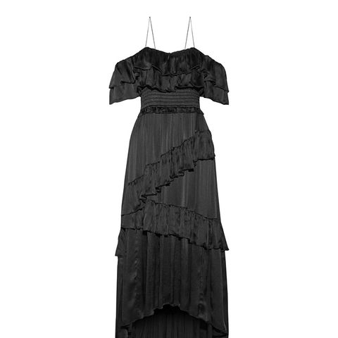 Louisa Off-the-Shoulder Ruffled Crinkled-Silk Gown