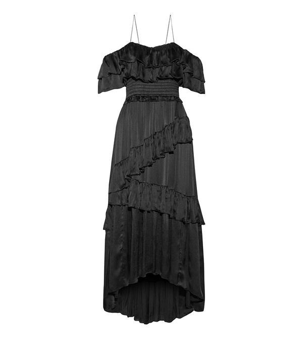 Ulla Johnson Louisa Off-the-Shoulder Ruffled Crinkled-Silk Gown