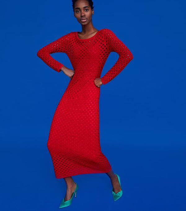 Zara Long Open Knit Dress