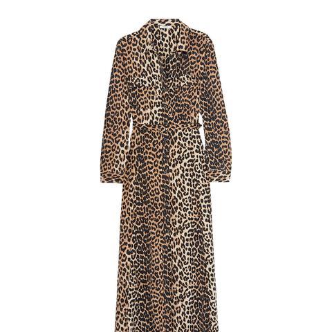 Leopard-Print Silk Maxi Dress